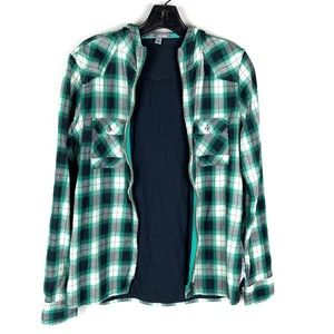 Horny Toad Green Plaid ZIP Up Flannel Top Hoodie S